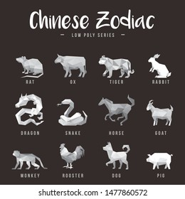 CHINESE ZODIAC ANIMALS LOW POLY LOGO ICON SYMBOL SET. TRIANGLE GEOMETRIC POLYGON