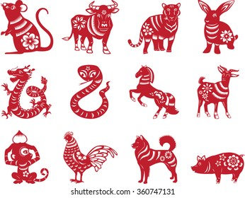 Chinese zodiac animals in paper cut style - red