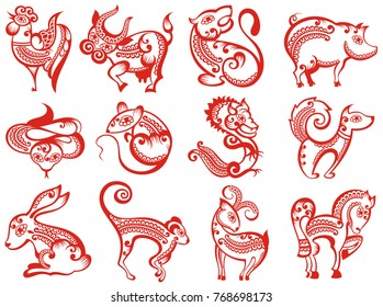 Chinese zodiac animals in paper cut style