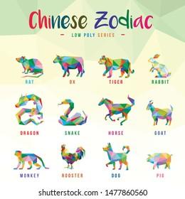 CHINESE ZODIAC ANIMALS POP ART LOW POLY LOGO ICON SYMBOL SET. TRIANGLE GEOMETRIC POLYGON