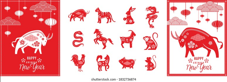 Chinese zodiac animals set with happy new year greeting card template of ox 2021. Twelve asian traditional red characters isolated on white. Vector illustration of astrology calendar horoscope symbol.