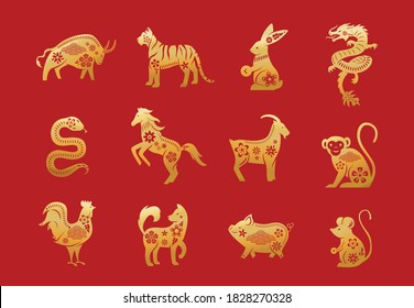 Chinese zodiac animals. Twelve asian new year golden characters set isolated on red background. Vector illustration of astrology calendar horoscope symbols.