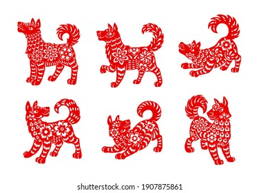 Chinese zodiac dog animal vector icons set. Canine Lunar new year of China symbolic, red ornate , astrological horoscope signs isolated on white background. Asian symbol of year, tattoo or paper cut