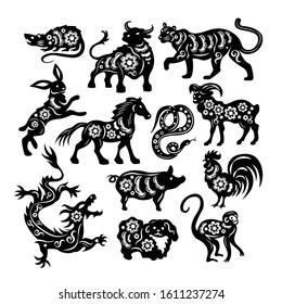 Chinese zodiac figures of sacred animals cutting from black paper set on white background isolated vector illustration