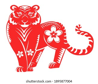 Chinese zodiac and horoscope sign, big red tiger