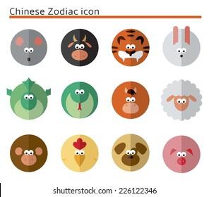 Chinese Zodiac icon set in circles