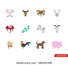 Chinese zodiac icon set of color types. Isolated vector sign symbols. Icon pack.