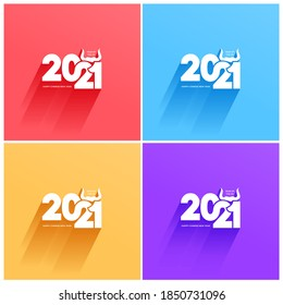 Chinese zodiac ox, 2021 year of the bull cartoon image design. Cartoon ox design. Happy new year vector illustration. Isolated on colored background.