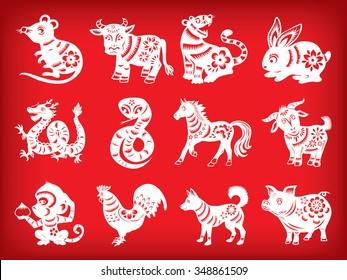 Chinese zodiac paper cut style