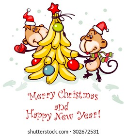 Chinese zodiac postcard 2016 with the monkey and stylized �±hristmas tree. banner merry christmas and happy new year.