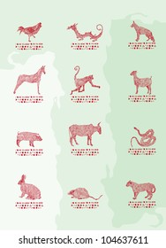Chinese zodiac - red on green background