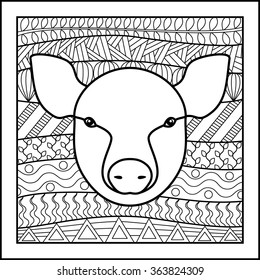 Chinese zodiac sign Pig. Vector illustration of abstract zodiacal Pig for horoscopes,  talismans, textile prints