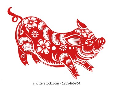 Chinese Zodiac Sign Year of Pig, Red paper cut pig, Happy Chinese New Year 2019 year of the pig