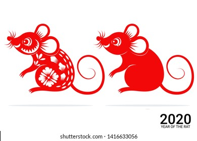 Chinese Zodiac Sign Year of Rat, Red paper cut rat, Happy Chinese New Year 2020 year of the rat
