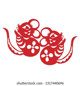 Chinese Zodiac Sign Year of Rat,Red paper cut rat,Happy Chinese New Year 2020year of the rat
