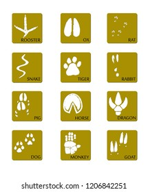 Chinese zodiac signs icons set on a gold square background. Paw prints marks , footprints of rat, mouse, snake, dragon, pig, rooster, rabbit, horse, monkey, dog, tiger, ox, bull. Vector illustration