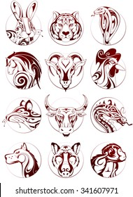 Chinese zodiac signs as ink sketches in circle badges