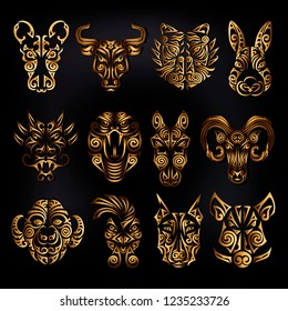 Chinese zodiac signs set. Rat, ox bull, tiger, rabbit, dragon, snake, horse, ram, monkey, rooster, dog, boar heads stylized Maori face tattoo. Vector illustration