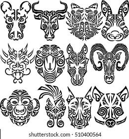 Chinese zodiac signs set. Rat, ox bull, tiger, rabbit, dragon, snake, horse, ram, monkey, rooster, dog, boar heads stylized Maori face tattoo. Vector