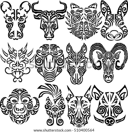 Chinese Zodiac Signs Set Rat Ox Stock Vector Royalty Free
