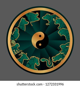 Chinese zodiac signs, symbols wheel calendar, vector illustration