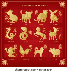Chinese zodiac signs with twelve animals and corresponding hieroglyphs
