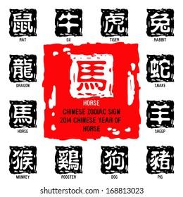 Chinese zodiac symbols /  2014 year of the horse