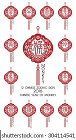 Chinese zodiac symbols / 2016 year of the Monkey
