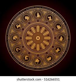 Chinese zodiac wheel, a vector illustration of Chinese zodiac wheel with years and animal silhouettes