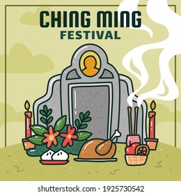 Ching ming festival or tomb sweeping day illustration