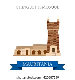 Chinguetti Mosque in Mauritania. Flat cartoon style historic sight showplace attraction web site vector illustration. World countries cities vacation travel sightseeing Africa collection.