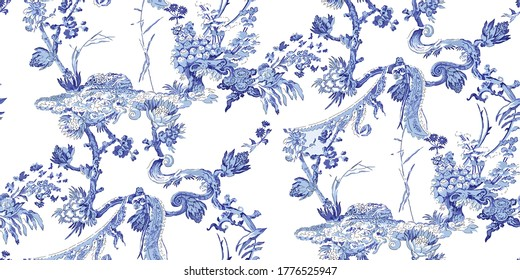 Chinoiserie abstract pattern backdrop background