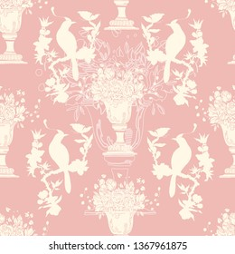Chinoiserie and rococo hand drawing pattern. Vector illustration. Wallpaper, textile and background design. Pink background. Birds and flowers.