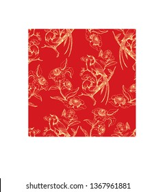 Chinoiserie and rococo hand drawing pattern with flowers and birds. Vector illustration. Wallpaper, textile and background design. Yellow on red.