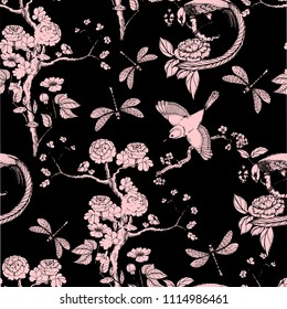 Chinoiserie seamless pattern. Vector illustration with silhouette. Chinese background on black.  Birds, peonies, dragonfly. Wallpaper design.