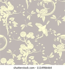 Chinoiserie seamless pattern. Vector illustration with silhouette. Chinese background on grey.  Birds, peonies, dragonfly. Wallpaper design.
