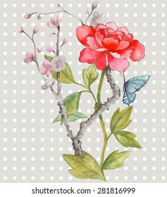 chinoiserie style  watercolor peony with butterfly