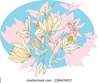 Chinoiserie vector flowers. Vector illustration. Invitation card design on blue circle frame.