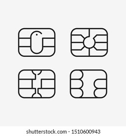 Chip of credit card icon. EMV chip for bank plastic credit or debit charge card. Vector illustration.