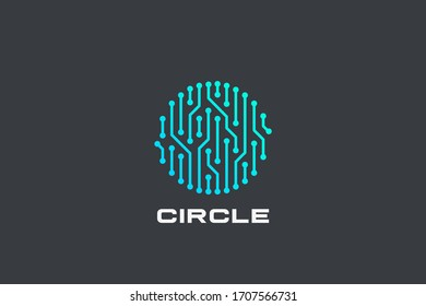 Chip Digital Logo abstract Artificial Intelligence AI vector design Linear Outline style. Electronics Circuit Circle shape Logotype icon.