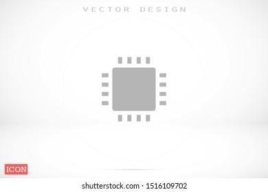 Chip. Flat vector web icon. Chip processor line vector icon. Chip of credit card icon. Chip vector icon flat design.