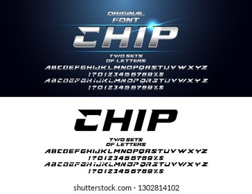 """""""Chip"""" Futuristic vector Font design. Digital Virtual Reality Technology typeface. Letters and Numbers for Computers.Alphabet silver metallic and effect designs."""