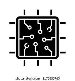 Chip glyph icon. Silhouette symbol. Processor. Central processing unit. Artificial intelligence. Negative space. Vector isolated illustration