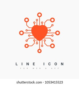 chip with heart isolated line vector icon for websites and mobile minimalistic flat design.