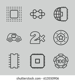 Chip icons set. set of 9 chip outline icons such as Casino bet, CPU, CPU in car