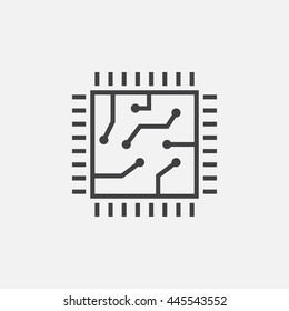 chip line icon, cpu outline vector illustration, linear pictogram isolated on white