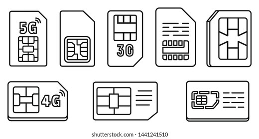 Chip phone card icons set. Outline set of chip phone card vector icons for web design isolated on white background