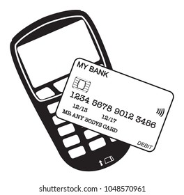 A chip and pin machine and card silhouette isolated on a white background