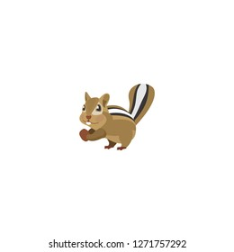 Chipmunk vector isolated flat icon