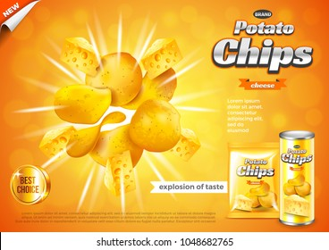 Chips ads. Cheese flavour explosion. 3d illustration and packaging